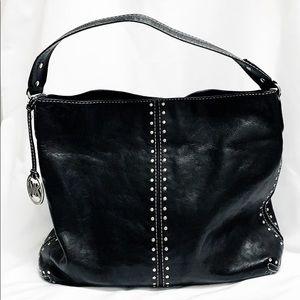 MICHAEL KORS Black Leather Studded Hobo Bag
